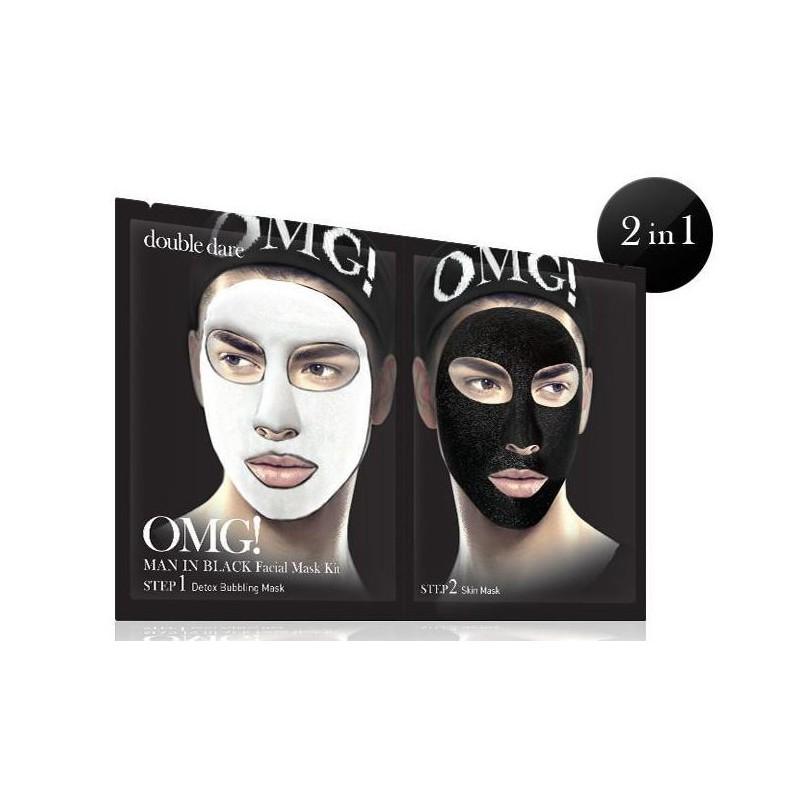 Veido kaukių rinkinys vyrams OMG! Man In Black Facial Mask Kit OMG-MIB-FM