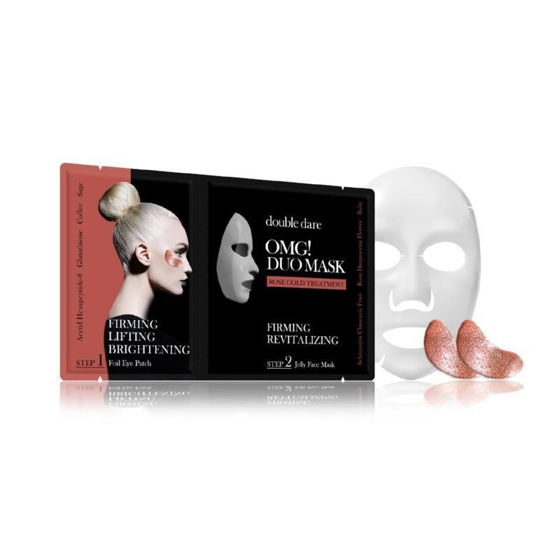 Veido priežiūros priemonių rinkinys OMG! Duo Mask - Rose Gold Theraphy, OMG-DM-RG, rinkinį sudaro: paakių pagalvėlės ir veido kaukė